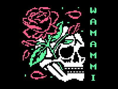 Skull & Roses rose skull pixel tattoo icon logo design illustration