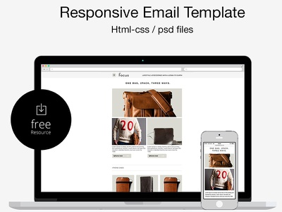 Free Psd/html Responsive Email Template  html template email responsive iphone