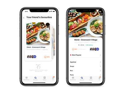 Food App, Friend's Favourites iphonex ios11 interface user food app