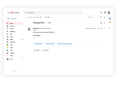 Gmail design (trying out material 2.0) with free sketch file