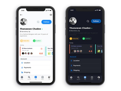 Multi use profile page + Settings user uikit appdesign iphonex ui ux e-commerce design interface app dark app ios