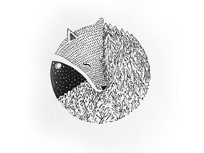 Sleeping Dog drawing design black and white micron pens ink pen illustration wolf dog