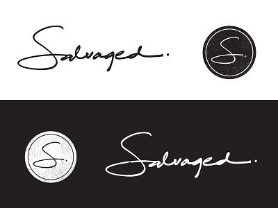Salvaged Logo and Mark typography hand drawn illustrator logo design design logo
