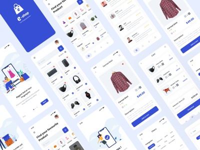 E-commerce UI kit for iOS & Android ios app ecommerce android app ecommerce website ecommerce app shop app style guide furniture shop app ecommerce free
