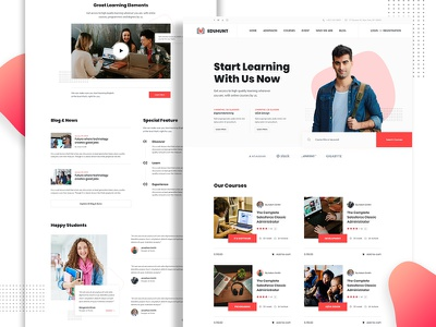 Education Landing Page branding portfolio college university student ux ui learning templae landingpage