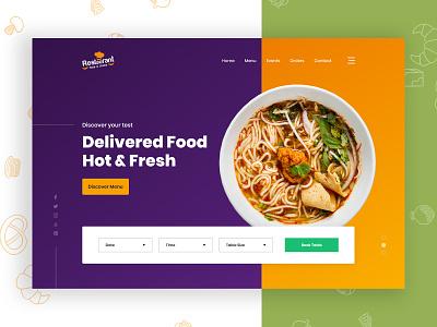 Restaurant web banner logo landingpage app illustration portfolio free responsive food banner restaurant ux ui