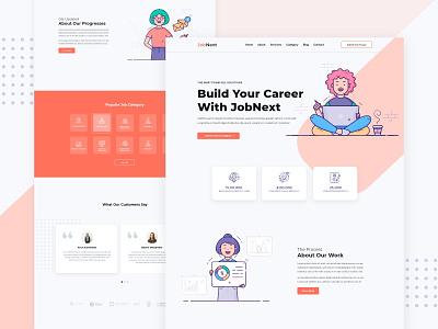Job Portal Landing Page resume portal job website mobile illustration branding portfolio free app ux ui