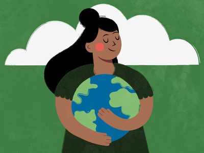 HAPPY EARTH DAY 🌎 illustration texture earth girl female illustration digital flat illustrations flat illustration earthday happy earth day environment planet earth save the planet planet world nature