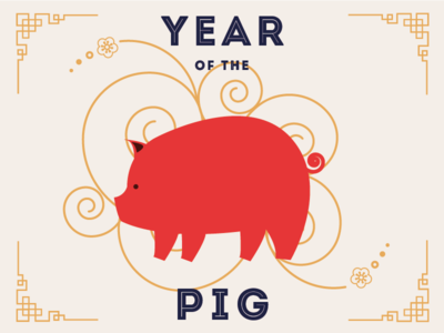 Happy Chinese New Year ! lunar new year flat illustration flat chinese year of the pig chinese new year illustration pig yearofthepig chinesenewyear