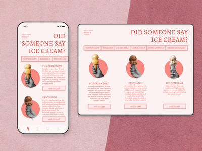 ice cream interface webdesign colors branding ice cream app design app design ui