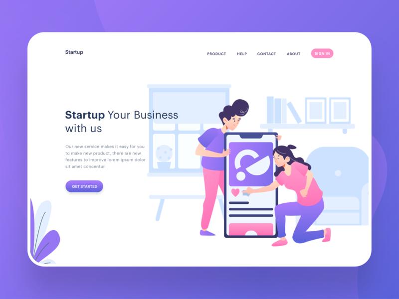 Start Up Illustration Website Header