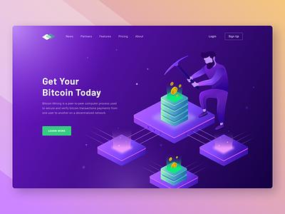 Bitcoin Landingpage cryptocurency blockchain mining website web ui onboarding landing illustration hotel header