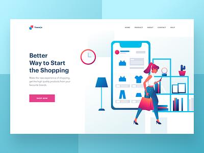 E-commerce header website shopping ux ui design ecommerce illustration header