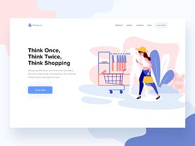 Shopping website header web business onboarding woman shopping ecommerce design ui website header illustration