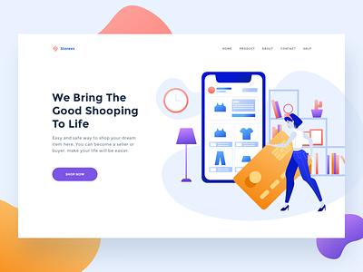 Storees E-commerce header women shopping ecommerce design business web ui website onboarding illustration header