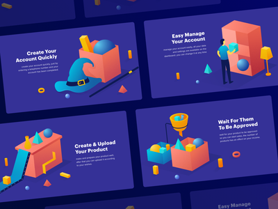 Upload step features web shopping business website ecommerce ui design illustration