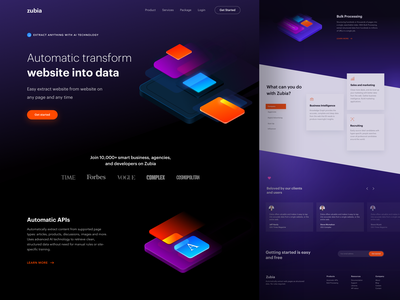 Zubia Landing Page analytics web interace extract api data design onboarding artificial intelligence header website ui illustration landing page