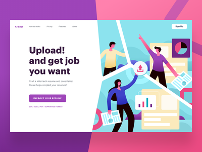 Civali Header resume job cv data business vector onboarding web landing design header website ui illustration