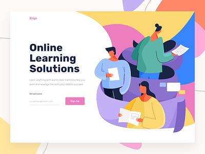 Zrqo Header study education people onboarding online platform learning vector web landing design header website ui illustration