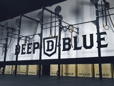 Deep Blue  weightlifting fitness logo identity branding
