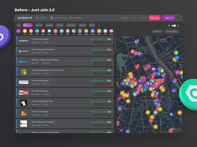 Jobboard redesign Justjoin.it 3.0 darkmode darkmode dark ui webapplication web app ux ui search bar programming map joblisting job board before after