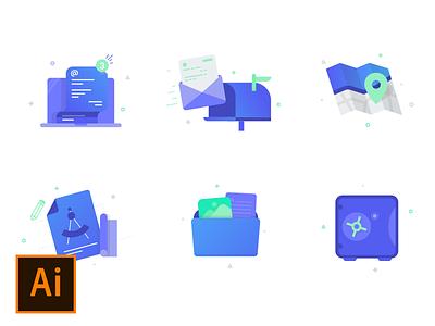 Random Icons - free download computer safe plan folder map mail random illustrator iconset icons free ai