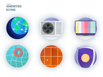 Icons Amenities purple amenities gradients conditioning air security swimpool tenis network flat icon tv