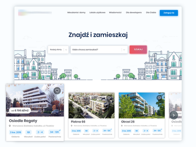 Homepage Concept search header development home website web ui page interface illustration real estate design
