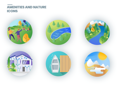 Icons Amenities And Nature flat lake nature reserve people play sun smarthome water mountains park amenities nature gradient icons