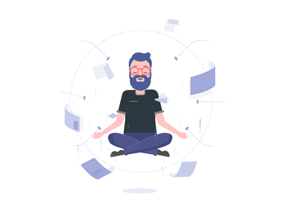 Levitated Men design cute character flat illustration power meditation men ui minal flat levitated illustration