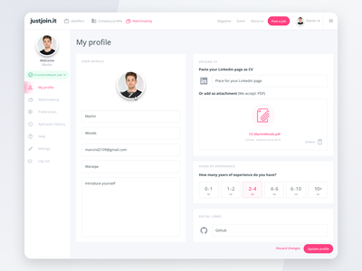 User profile dashboard account profile job website interface dashboad ux web ui