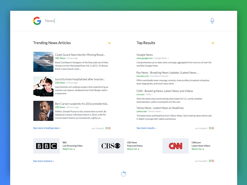 Daily UI #022 - Search + Free PSD results news autocomplete search clean google freebie psd freebies ui daily ui