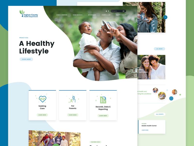 Health Website typogaphy type website icons curves clean hero ui health design