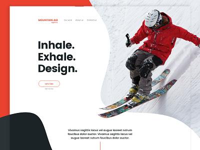 Mountain Air art curves ui hero typography extreme sport ski mountain design agency