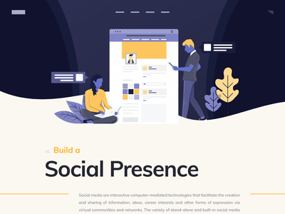 Social Presence hero creative icons people hero area landing page curved flat illustration