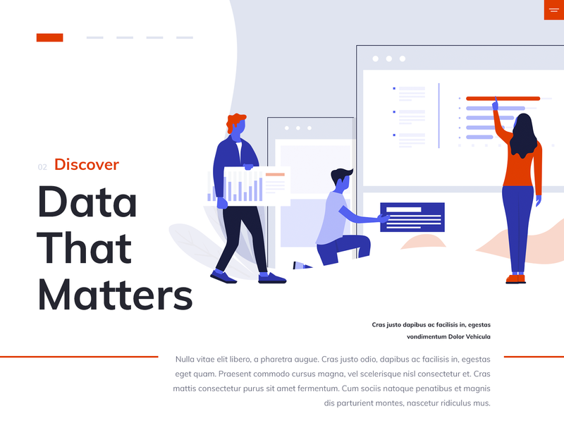Data people landing page reduce blue header data type curved flat ux typography illustration hero ui