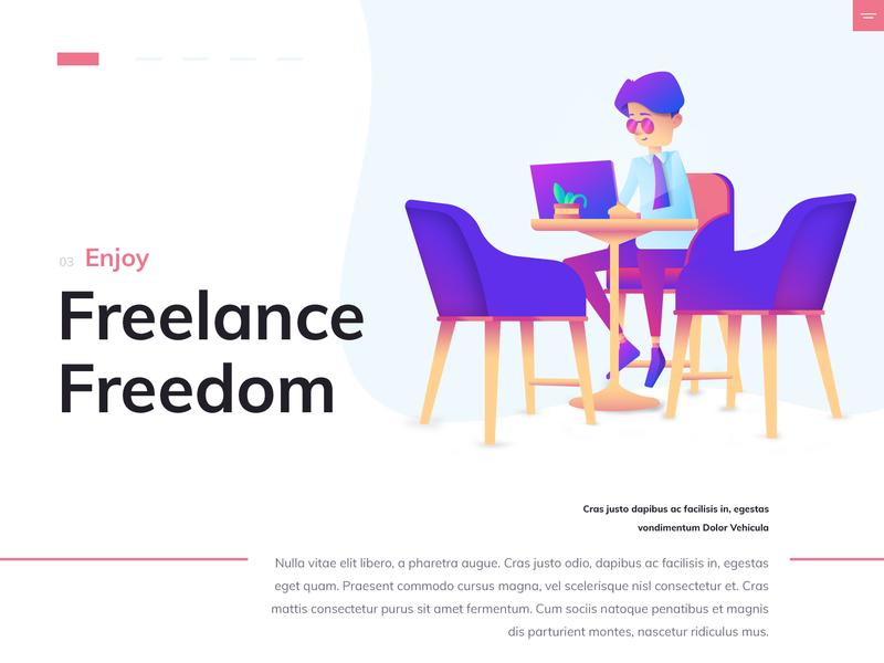 Freelance typogaphy curved flat illustration design hero freelance