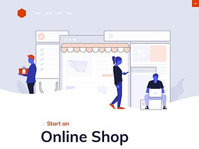 Online Shop icon typography ux ui typogaphy shop online header flat  design blue shop design online store people hero design illustration flat shop