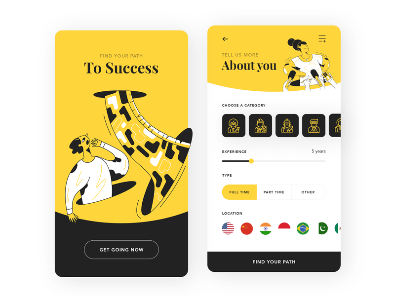 Success flat typography vector branding illustration ui app design jobs job application apple webdesign design artwork illustrations app
