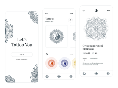 Tattoo App ux  ui tattoo artist tattoo design tattoo art iphone tattoo ux application illustration design app design app ui apple