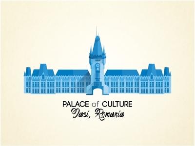 Palace of Culture flat design illustration