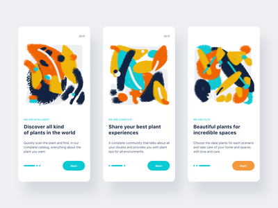 Welcome screens app onboarding design illustrations ux ui flat