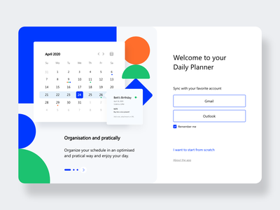 Onboarding Daily Planner dash dashboard design flat design illustrations website ux ui flat