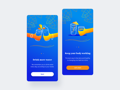 Water Drink App | Welcome Screen welcome screen app illustration illustrations ux ui flat