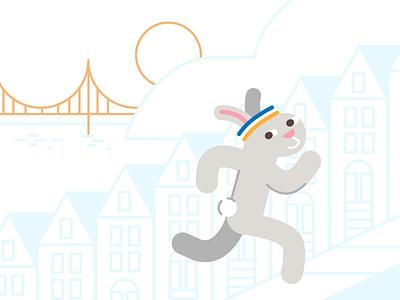 Sun Run Bun vibes runningupthathill run san francisco bunny rabbit running illustration