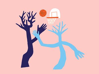 Trees Playing Basketball Illustration matisse earthday trees ballers balling sports design sport game art gametime editorial illustration basketball vibes illustration