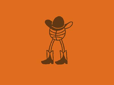 Yeehaw on the Half Court illustration branding vibes tattoo illustrator vector slam dunk orange last dance yeehaw cowboy hat basketball