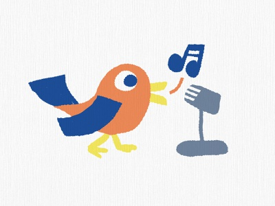 Bird Song bird illustration vibes rough sketch birb cartoon vintage microphone recording music singing bird illustration
