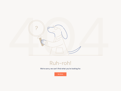 404 Page for Pet Health Startup brand illustration scientist doggie doggo doggy scooby doo 404 design branding illustration