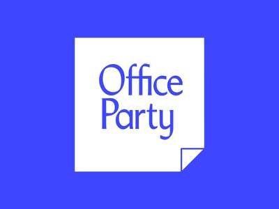 Office Party logo  blue office party business casual post-it notes logo